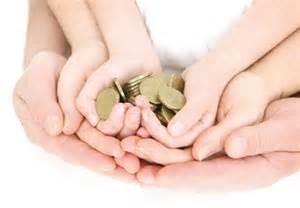 Family holding money