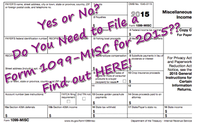 YES or NO?? Do You Need to File a Form 1099-MISC for 2015?  Find out HERE!